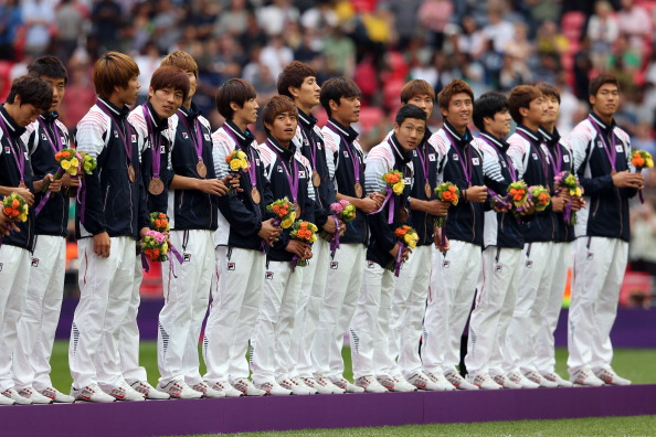 South Korean football team receive bronze medals London 2012