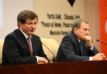 Turkey Foreign Minister Ahmet Davutoğlu L and Interior Minister Muammer Güler at the press conference