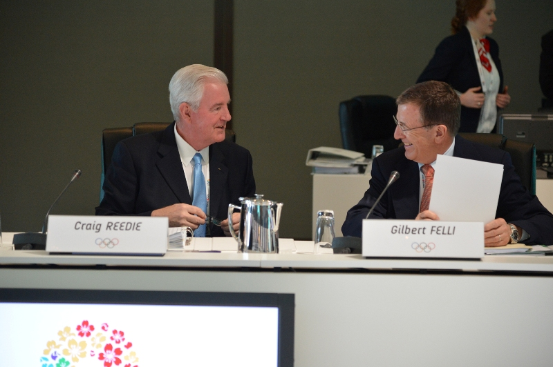 Craig Reedie and Gilbert Felli at IOC Evaluation Commission Tokyo March 5 2013